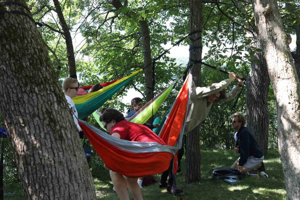 senior high hanging around in hammocks